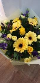 Yellow and purple flowers bouquet